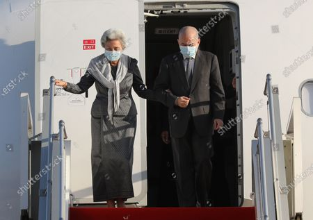 Cambodian King Norodom Sihamoni (R) and his mother Queen Norodom Monineath (L) arrive at Phnom Penh International Airport in Phnom Penh, Cambodia, 07 November 2020. King Norodom Sihamoni and his mother, Queen Norodom Monineath, returned from a health check-up in China.