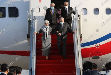 Cambodian King Norodom Sihamoni (front-R) and his mother Queen Norodom Monineath (front-L) arrive at Phnom Penh International Airport in Phnom Penh, Cambodia, 07 November 2020. King Norodom Sihamoni and his mother, Queen Norodom Monineath, returned from a health check-up in China.