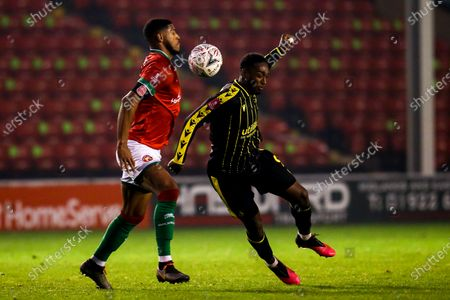 Brandon Hanlan of Bristol Rovers takes on Zak Jules of Walsall