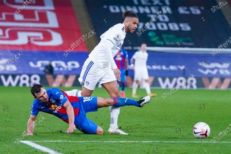Leeds United forward Tyler Roberts (11) tackles Crystal Palace midfielder James McArthur (18) during the Premier League match between Crystal Palace and Leeds United at Selhurst Park, London