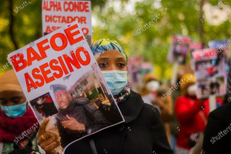 Editorial image of Citizens of Guinea Conakry demonstration, Madrid, Spain - 06 Nov 2020