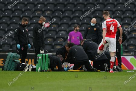 Ched Evans receives treatment during the The FA Cup match between Hull City and Fleetwood Town at the KCOM Stadium, Kingston upon Hull