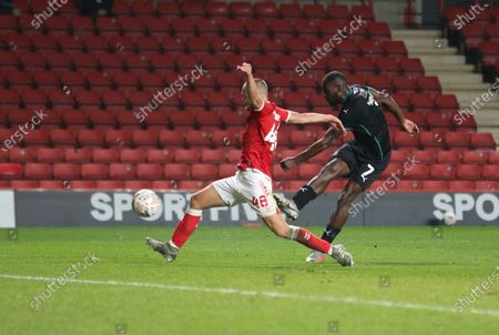Stock Image of Frank Nouble of Plymouth Argyle shot goes wide during Charlton Athletic vs Plymouth Argyle, Emirates FA Cup Football at The Valley on 7th November 2020