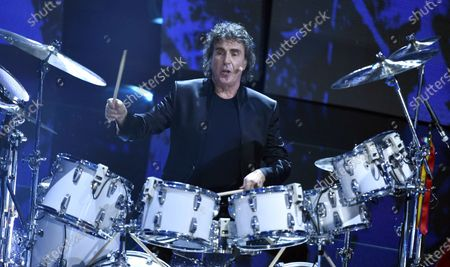 Italian musician Stefano D'Orazio performs during the Sanremo Italian Song Festival at the Ariston Theater, in Sanremo, Italy, 11 February 2016. (issued 07 November 2020). D'Orazio, the drummer of the Italian band Pooh, has died at the age of 72 at hospital in Rome, according to media reports on 07 November 2020. He had been hospitalized due to a Covid-19 infection. His last performance was 'Rinascero, rinascerai' (lit.: I will be reborn, you will be reborn), a song composed by his lifelong friend Roby Facchinetti for coronavirus-stricken Bergamo.