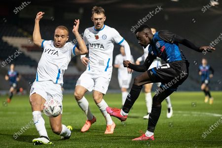 Stock Photo of Rochdale A.F.C forward Fabio Tavares (17) crosses the ball during the The FA Cup match between Rochdale and Stockport County at the Crown Oil Arena, Rochdale
