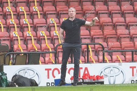 Stockport County manager Jim Gannon during the The FA Cup match between Rochdale and Stockport County at the Crown Oil Arena, Rochdale