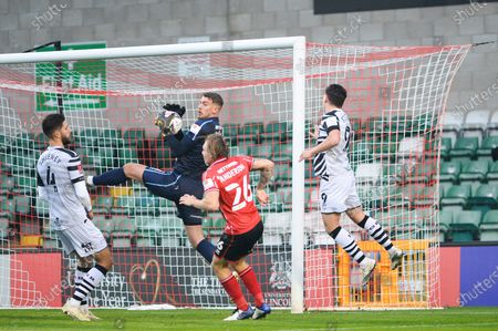Forest Green Rovers Matt Stevens (9) misses chance to score during the The FA Cup match between Lincoln City and Forest Green Rovers at Sincil Bank, Lincoln