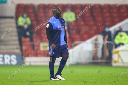 Wycombe Wanderers Forward Adebayo Akinfenwa during the EFL Sky Bet Championship match between Nottingham Forest and Wycombe Wanderers at the City Ground, Nottingham