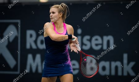 Jana Fett of Croatia in action during the first qualifications round at 2020 Upper Austria Ladies Linz WTA International tennis tournament