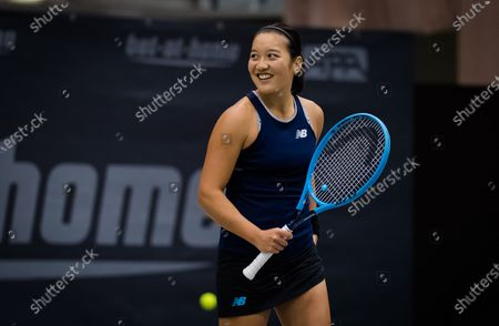 Harmony Tan of France in action during the first qualifications round at the 2020 Upper Austria Ladies Linz WTA International tennis tournament