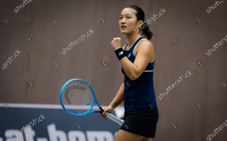 Stock Picture of Harmony Tan of France in action during the first qualifications round at the 2020 Upper Austria Ladies Linz WTA International tennis tournament