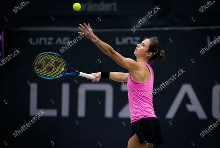 Bibiane Schoofs of the Netherlands in action during the first qualifications round at the 2020 Upper Austria Ladies Linz WTA International tennis tournament