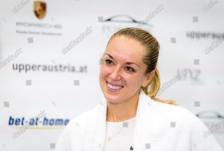 Sabine Lisicki of Germany talks to the media after winning the first qualifications round at the 2020 Upper Austria Ladies Linz WTA International tennis tournament
