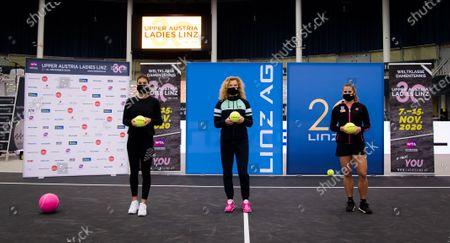 Sorana Cirstea of Romania, Katerina Siniakova of the Czech Republic & Julia Grabher of Austria during the draw ceremony at the 2020 Upper Austria Ladies Linz WTA International tennis tournament