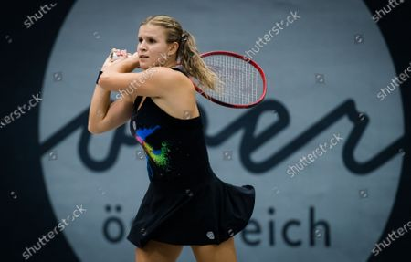 Jana Fett of Croatia in action during the second qualifications round at the 2020 Upper Austria Ladies Linz WTA International tennis tournament