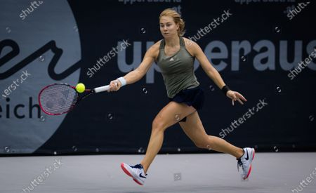 Stock Image of Stefanie Voegele of Switzerland in action during the second qualifications round at the 2020 Upper Austria Ladies Linz WTA International tennis tournament