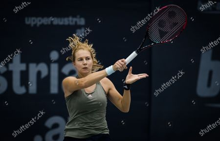 Stock Picture of Stefanie Voegele of Switzerland in action during the second qualifications round at the 2020 Upper Austria Ladies Linz WTA International tennis tournament
