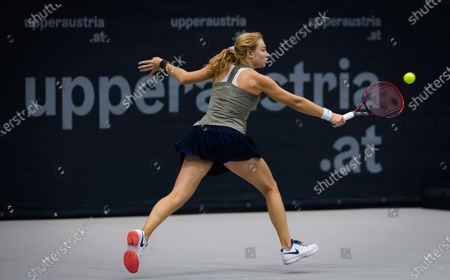 Stock Photo of Stefanie Voegele of Switzerland in action during the second qualifications round at the 2020 Upper Austria Ladies Linz WTA International tennis tournament