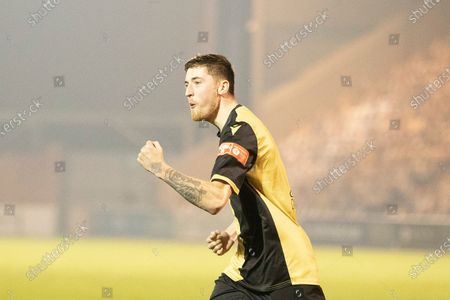 Stock Picture of Michael Howard, Marine AFC celebrates converting his spot kick to send Marine through during Colchester United vs Marine, Emirates FA Cup Football at the JobServe Community Stadium on 7th November 2020