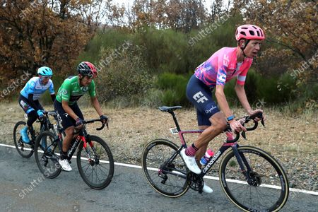 Stock Photo of (R-L) British rider Hugh Carthy of EF Pro Cycling team; Ecuadorian Richard Carapaz, of INEOS Grenadiers team; and Irish cycist Dan Martin, of Israel Start-Up Nation team, in action during the 17th stage of the Vuelta a Espana 2020 cycling race over 178.2km from Sequeros to Alto de la Covatilla, Spain, 07 November 2020.