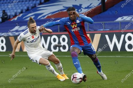 Stock Picture of Wilfried Zaha (R) of Palace in action against Luke Ayling (L) of Leeds during the English Premier League soccer match between Crystal Palace and Leeds United in London, Britain, 07 November 2020.