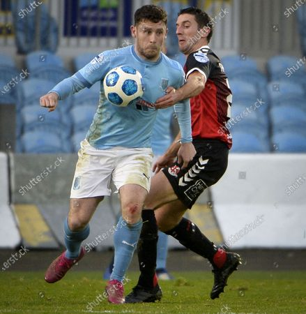 Ballymena United vs Crusaders. Ballymena's Shay McCartan in action with Crusaders' Gary Thompson