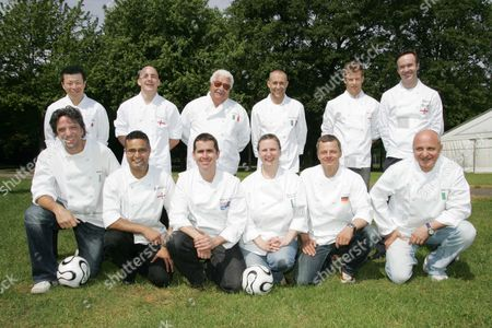 Celebrity Chefs Shows Their Colours For Their Country Team In The World Cup As A Promotion For The Taste Of London Exhibition In Regents Park. L-r Back Row Ichiro Kubota Stuart Gillies Boxwood Antonio Carluccio Michel Roux (junior) Tom Aikens Marcus Wareing. L-r Front Row Giorgio Locatelli Atul Kochar-benares Shane Osborn Angela Hartnett Rainer Becker Aldo Zilli Picture By Glenn Copus