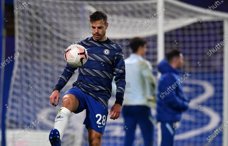 Chelsea's Cesar Azpilicueta controls the ball during warmup before the English Premier League soccer match between Chelsea and Sheffield United at Stamford Bridge Stadium in London