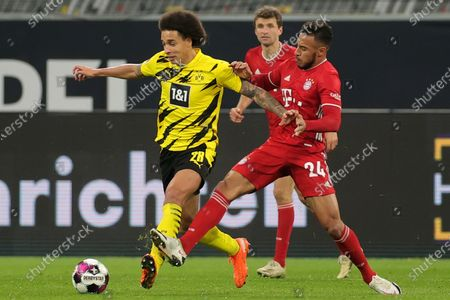 Stock Photo of Bayern's Corentin Tolisso (R) in action against Dortmund's Axel Witsel (L) during the German Bundesliga soccer match between Borussia Dortmund and Bayern Muenchen in Dortmund, Germany, 07 November 2020.