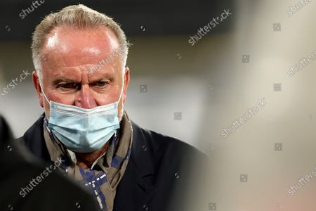 Stock Picture of Bayern's chairman of the board Karl-Heinz Rummenigge looks on before the German Bundesliga soccer match between Borussia Dortmund and Bayern Muenchen in Dortmund, Germany, 07 November 2020.