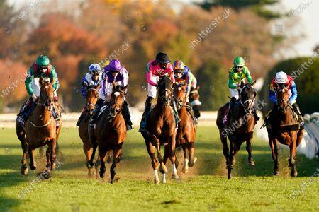 Colin Keane, left, rides Tarnawa to win the Breeders' Cup Turf horse race at Keeneland Race Course, in Lexington, Ky