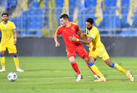 Al Quadisiya player Mihai Bordeianu (C) in action during the Saudi Professional League soccer match between Al Nassr and Al Quadisiya at Prince Faisal bin Fahd Stadium, in Riyadh, Saudi Arabia, 07 November 2020.