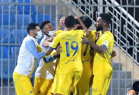 Al Nassr players celebrate a goal during the Saudi Professional League soccer match between Al Nassr and Al Quadisiya at Prince Faisal bin Fahd Stadium, in Riyadh, Saudi Arabia, 07 November 2020.