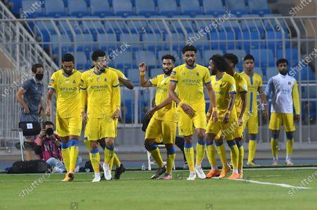 Stock Photo of Al Nassr players celebrate a goal during the Saudi Professional League soccer match between Al Nassr and Al Quadisiya at Prince Faisal bin Fahd Stadium, in Riyadh, Saudi Arabia, 07 November 2020.