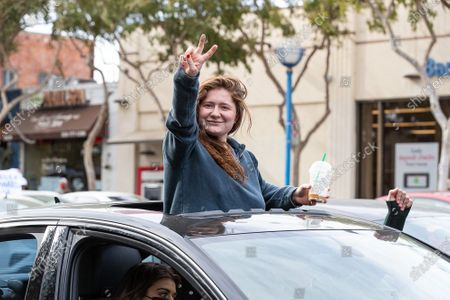 Emma Kenney celebrates in West Hollywood after Joe Biden is declared the president-elect