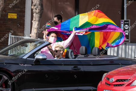 Jason De Puy aka Salina Estitties and Frankie Grande celebrate in West Hollywood after Joe Biden is declared the president-elect