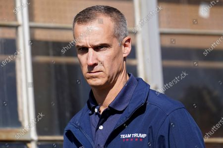 Stock Image of President Donald Trump's campaign advisor Corey Lewandowski, listens to a speaker during a news conference on legal challenges to vote counting in Pennsylvania, in Philadelphia