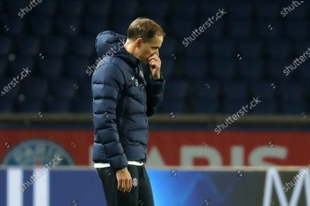Paris Saint Germain head coach Thomas Tuchel reacts  during the French soccer Ligue 1 match between Paris Saint Germain (PSG) and Rennes at the Parc des Princes stadium in Paris, France, 07 November 2020.