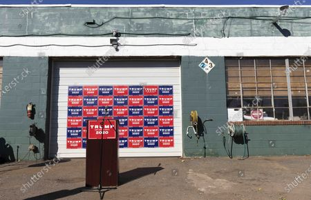 A podium set up in the parking lot of a landscaping company for a press conference with Trump lawyer Rudy Giuliani after Joe Biden was declared as winner of the 2020 Presidential Election in Philadelphia, Pennsylvania, USA, 07 November 2020.