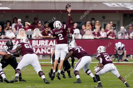 Mississippi State quarterback Will Rogers (2) reaches for a high snap against Vanderbilt during the first half of an NCAA college football game in Starkville, Miss