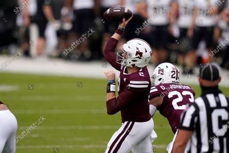 Mississippi State quarterback Will Rogers (2) passes against Vanderbilt during the first half of an NCAA college football game in Starkville, Miss
