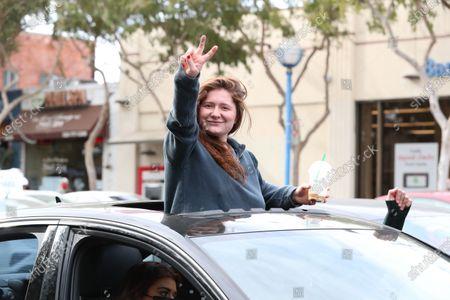 Editorial photo of US presidential election celebrations, Los Angeles, USA - 07 Nov 2020
