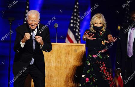 President-elect Joe Biden (L) and Dr. Jill Biden (R) after Biden delivered his victory address after being declared the winner in the 2020 presidential election in Wilmington, Delaware, USA, 07 November 2020. Biden defeated incumbent US President Donald J. Trump.