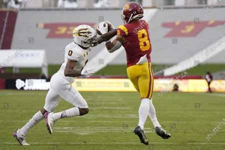 Stock Picture of Southern California wide receiver Amon-Ra St. Brown (8) catches a pass against Arizona State defensive back Jack Jones (0) during the first half of an NCAA football game, in Los Angeles