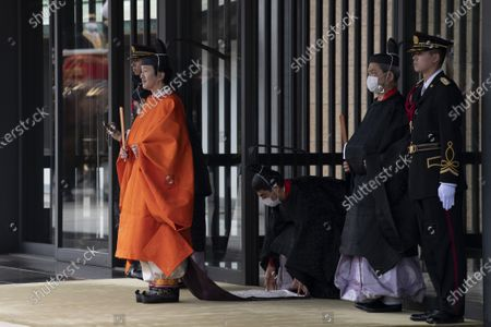Crown Prince Fumihito (L) leaves the Imperial Palace after being formally declared first in line to the Chrysanthemum Throne during a ceremony, in which Emperor Naruhito proclaimed his younger brother 'crown prince to the people of Japan', in Tokyo, Japan, 08 November 2020.