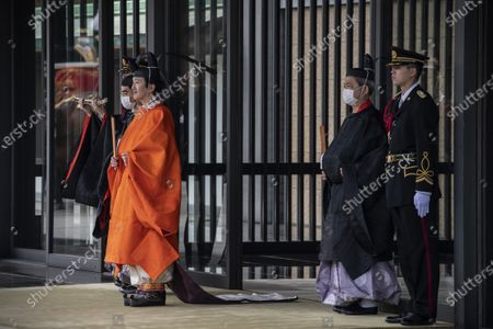 Stock Photo of Crown Prince Fumihito (2-L) leaves the Imperial Palace after being formally declared first in line to the Chrysanthemum Throne during a ceremony, in which Emperor Naruhito proclaimed his younger brother 'crown prince to the people of Japan', in Tokyo, Japan, 08 November 2020.