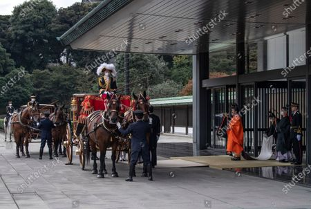 Crown Prince Fumihito (4-R) leaves the Imperial Palace after being formally declared first in line to the Chrysanthemum Throne during a ceremony, in which Emperor Naruhito proclaimed his younger brother 'crown prince to the people of Japan', in Tokyo, Japan, 08 November 2020.