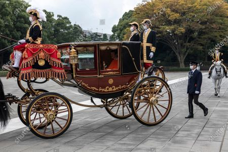 Crown Prince Fumihito leaves the Imperial Palace after being formally declared first in line to the Chrysanthemum Throne during a ceremony, in which Emperor Naruhito proclaimed his younger brother 'crown prince to the people of Japan', in Tokyo, Japan, 08 November 2020.