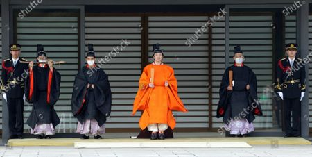 Japanese Crown Prince Fumihito (C) is seen at the Imperial Palace in Tokyo, Japan, 08 November 2020. Japanese Crown Prince Fumihito was formally declared first in line to the Chrysanthemum Throne.