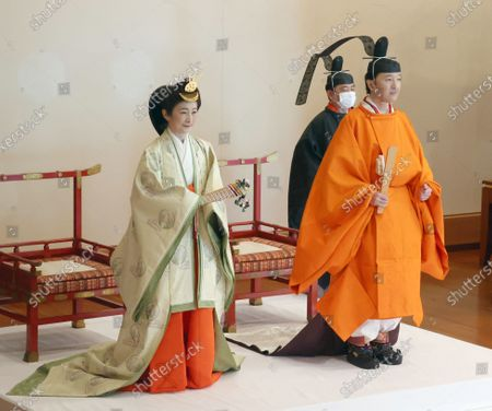 Japanese Crown Prince Fumihito (R) and Crown Princess Kiko attend a ceremony at the Imperial Palace in Tokyo, Japan, 08 November 2020. Japanese Crown Prince Fumihito was formally declared first in line to the Chrysanthemum Throne.
